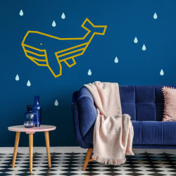Patron diy deco mur masking tape baleine or