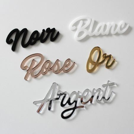 Couleur du plexiglas à choisir pour le lettrage noir blanc miroir or et miroir argent miroir rose
