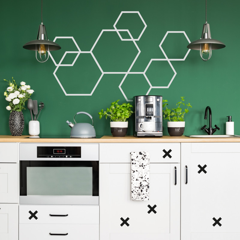 Déco mur diy masking tape hexagones