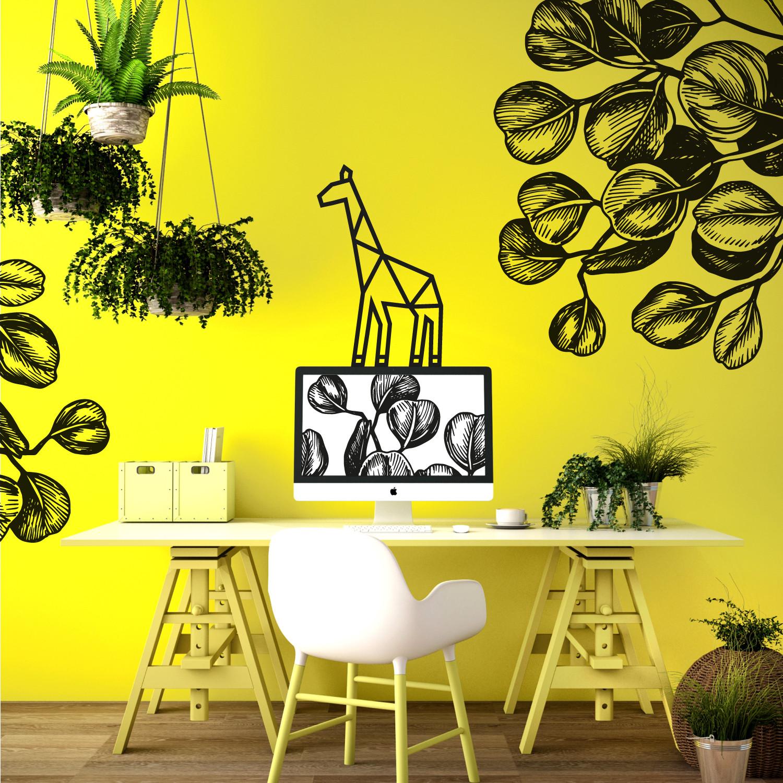 déco mur en masking tape girafe noir