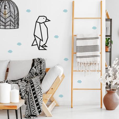 Déco mur DIY masking tape pingouin noir