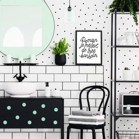 stickers muraux décoration maison petit pois noir