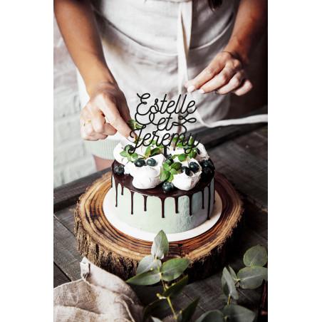 Cake topper mariage personnalisation prénoms