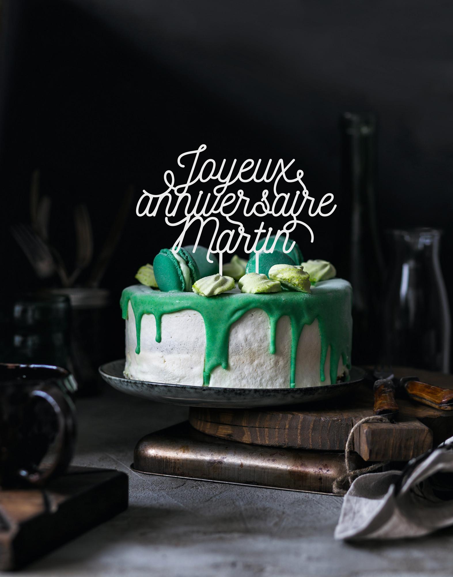Cake topper personnalisé joyeux anniversaire prénom