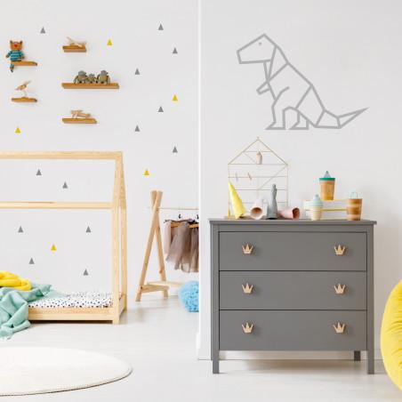 Stickers petits triangles déco mur chambre enfant argent et jaune