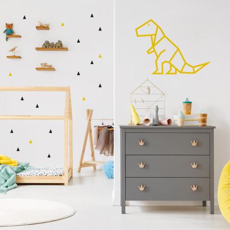 Stickers petits triangles déco mur chambre enfant noir et jaune