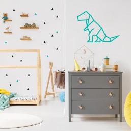 Stickers petits triangles déco mur chambre enfant noir et menthe