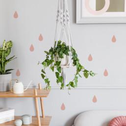 Stickers gouttes d'eau vieux rose déco mur MilieO
