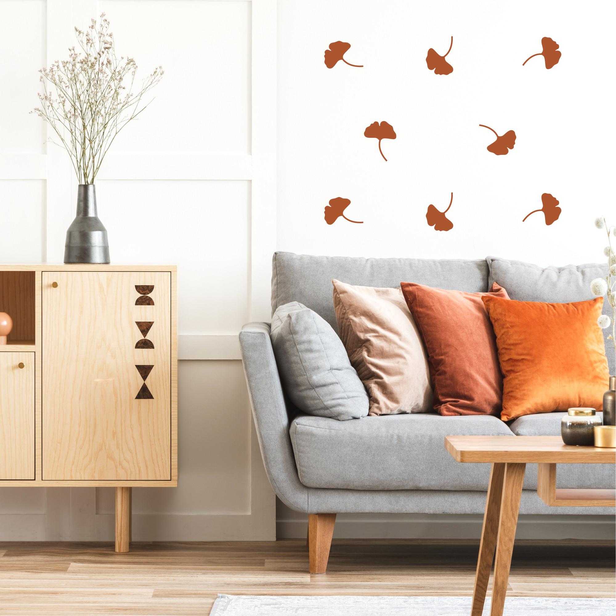 Déco mur stickers muraux feuilles de gingko cuivre