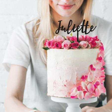 Cake topper gateau anniversaire prenom personnalisable bois or rose