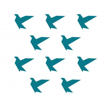 Stickers déco mur oiseau bleu canard