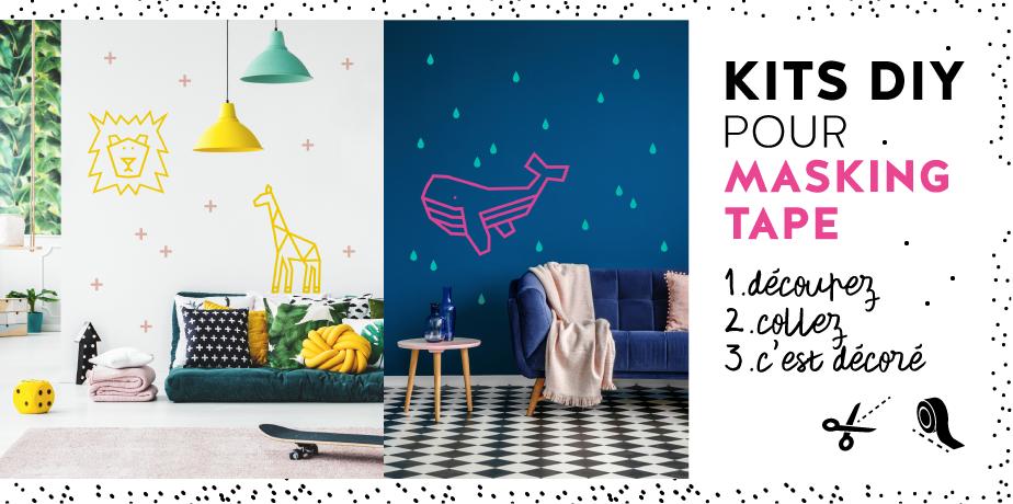 Kits DIY pour masking tape déco murale animaux